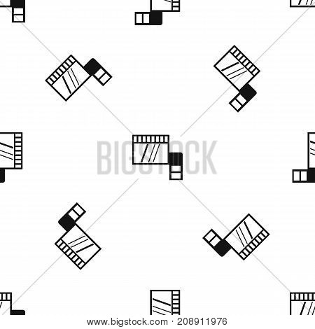 Memory card pattern repeat seamless in black color for any design. Vector geometric illustration