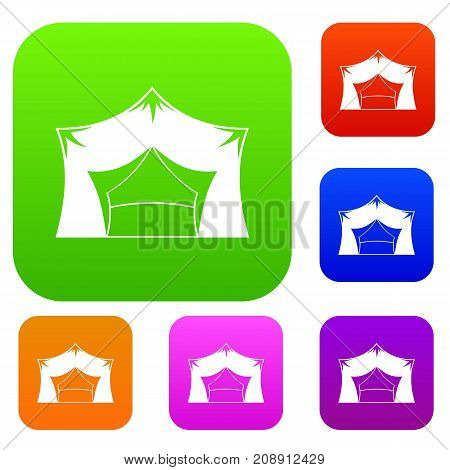 Awning tent set icon color in flat style isolated on white. Collection sings vector illustration