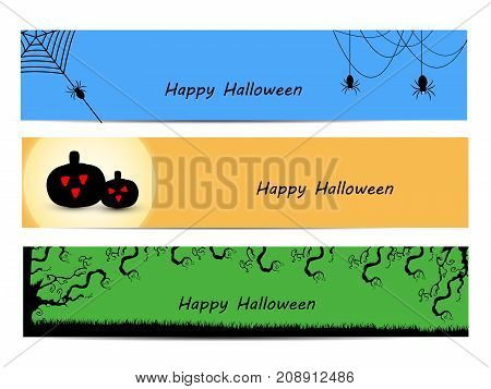 illustration of pumpkin, web, tree and spider with happy Halloween text on the occasion of Halloween Celebration