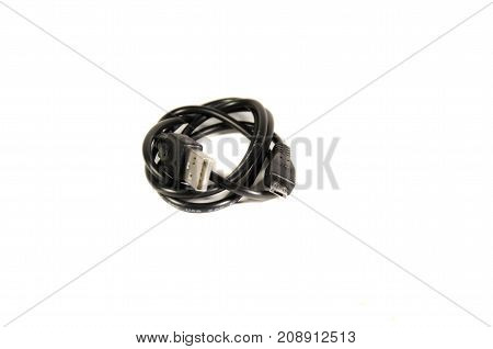 Mini Usb Cable Isolated On A White Background