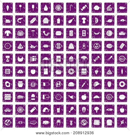 100 meal icons set in grunge style purple color isolated on white background vector illustration