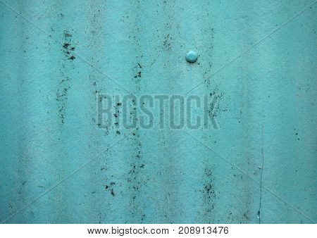 Turquoise Painted Old Wavy Slate Background. Aged Wavy Slate With Moss, Lichen Texture