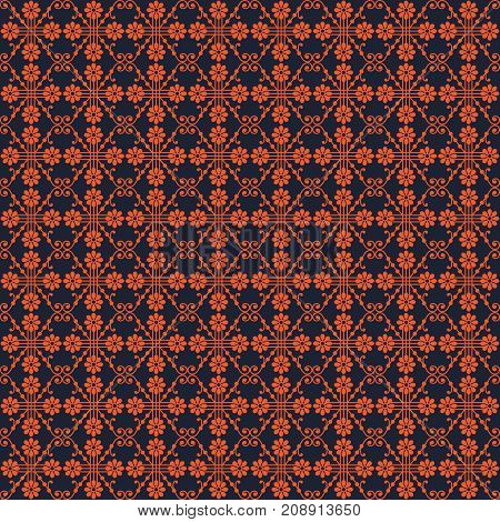 Symmetric seamless pattern with bright orange flowers lines and curves on dark blue background
