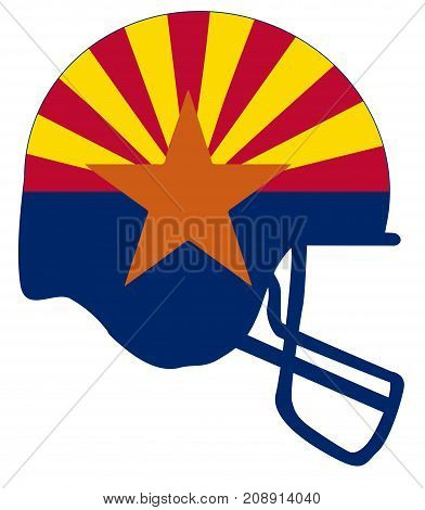 The flag of the USA state of Arizona below a football helmet silhouette