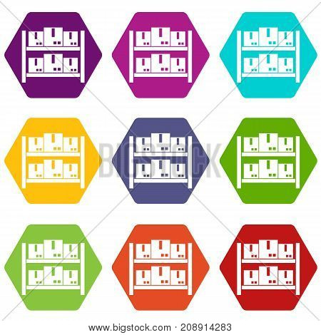 Storage of goods in warehouse icon set many color hexahedron isolated on white vector illustration
