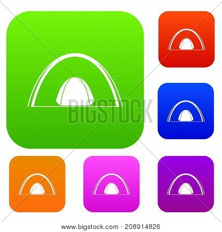 Camping dome tent set icon color in flat style isolated on white. Collection sings vector illustration