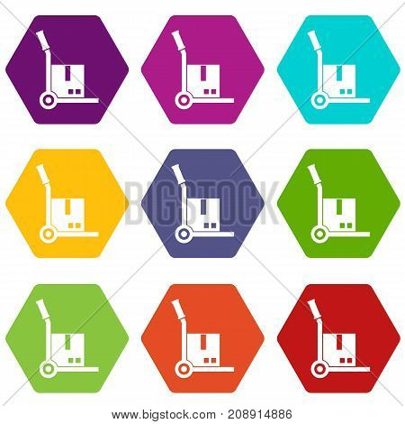 Truck with cargo icon set many color hexahedron isolated on white vector illustration