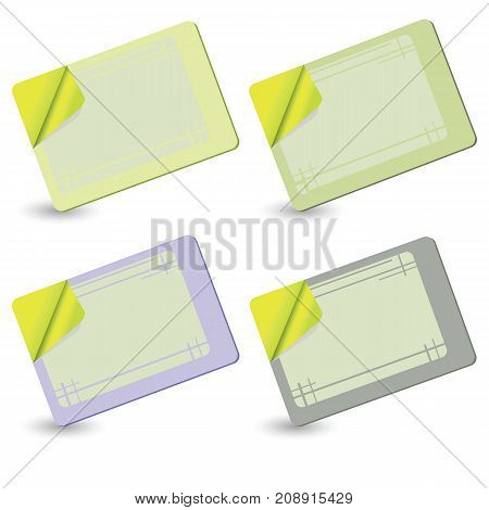Set of Colored Plastic Cards Isolated on White Background