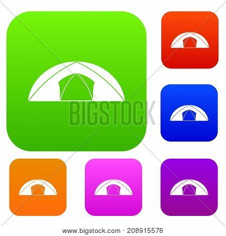 Dome tent for camping set icon color in flat style isolated on white. Collection sings vector illustration