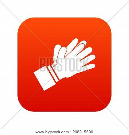 Clapping applauding hands icon digital red for any design isolated on white vector illustration