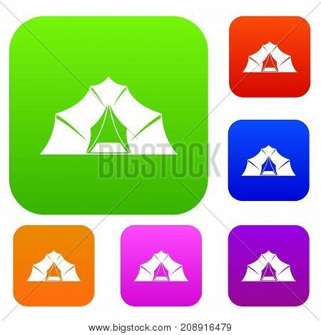 Hiking and camping tent set icon color in flat style isolated on white. Collection sings vector illustration