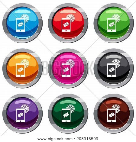 Mobile mail sign set icon isolated on white. 9 icon collection vector illustration
