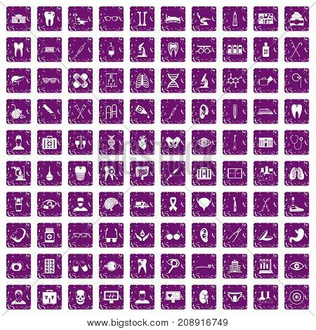 100 medical icons set in grunge style purple color isolated on white background vector illustration