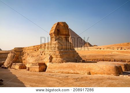 Close view of restoration of the Great Sphinx of Giza in front of pyramid of Khufu