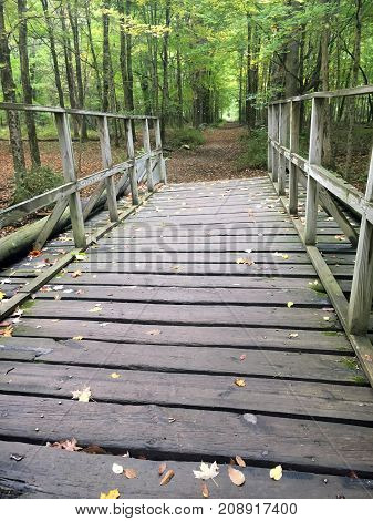 Old Wooden Bridge On Hiking Trail In The Fall - Connecticut, USA