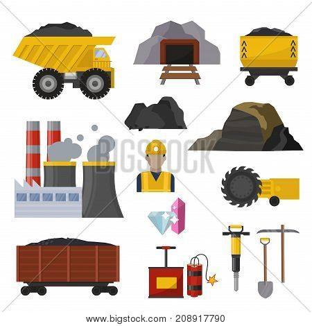 Coal extraction production mining heavy industry miner underground work transportation vector illustration. Excavator dumper coal trolleys, coal cutter, coal mining