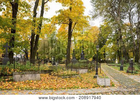 Ancient Lutheran (German) Smolenskoye cemetery Petersburg Russia. Closed since 1930