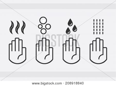 Black isolated washing hands with water drops soap and blow dryer air sign icons set on gray background
