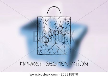 market segmentation concept: shopping bag with dashed lines overlay over unfocused shopping cart background