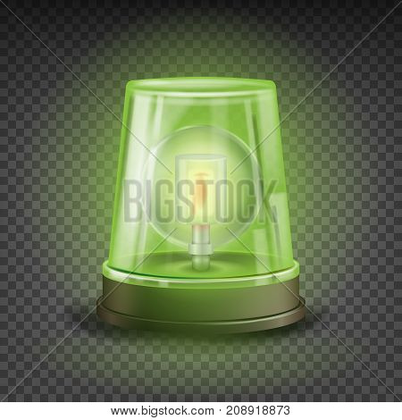 Green Flasher Siren Vector. Realistic Object. Light Effect. Rotation Beacon. Warning And Emergency Flashing Siren. Isolated On Transparent Background