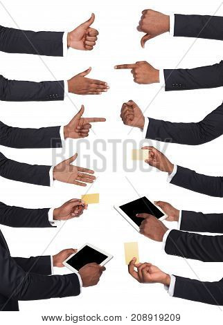 Set of black businessman hands holding tablet, card, showing symbols and gestures. Like, dislike, pointing with index finger. Isolated on white background