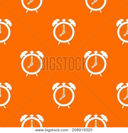 Alarm clock pattern repeat seamless in orange color for any design. Vector geometric illustration