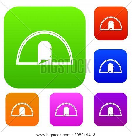 Tent set icon color in flat style isolated on white. Collection sings vector illustration