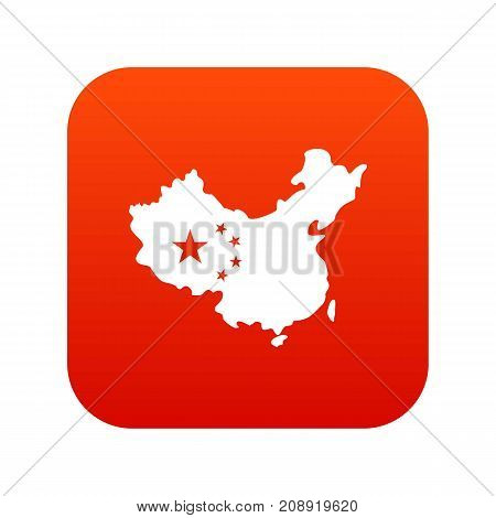 Map of China icon digital red for any design isolated on white vector illustration