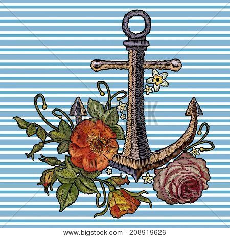 Anchor red roses and peonies embroidery. template for clothes textile t-shirt design fashion sea arrt. Classical fashionable embroidery vintage anchor beautiful red bouquets of roses and peonies