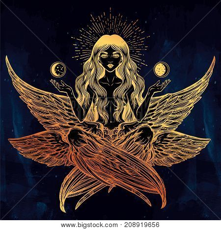 Hand drawn romantic six winged Angel girl. Alchemy, religion, spirituality, occult magic, tattoo. Isolated vector illustration. Biblical Seraphim deity, Slavonic folk Sirin Alkonost bird of paradise.