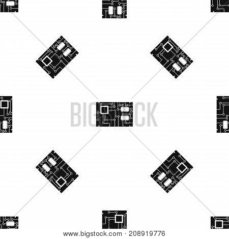 Electronic board pattern repeat seamless in black color for any design. Vector geometric illustration