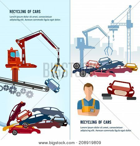 Car scrap metal dump vector. Car recycling banner. Industrial crane claw grabbing old car for recycling metal utilization of cars. Recycling industrial factory