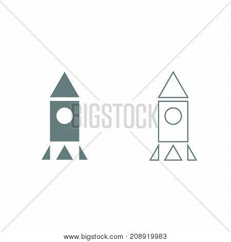 Rocket Grey Set Icon .