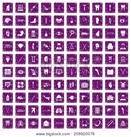 100 medicine icons set in grunge style purple color isolated on white background vector illustration