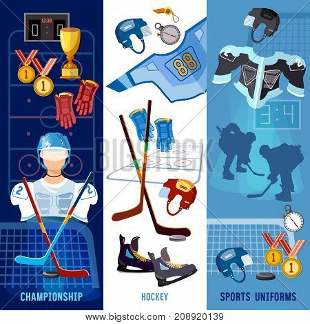 Hockey team sport uniform. World ice hockey championship players shoots the puck and attacks signs and symbols elements of professional hockey banner