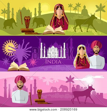 Travel to India banner. Taj mahal elephants saris gods Hinduism. illustration of India background set. Culture traditions attractions and people of India