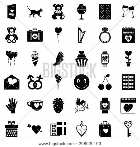 Romance icons set. Simple style of 36 romance vector icons for web isolated on white background