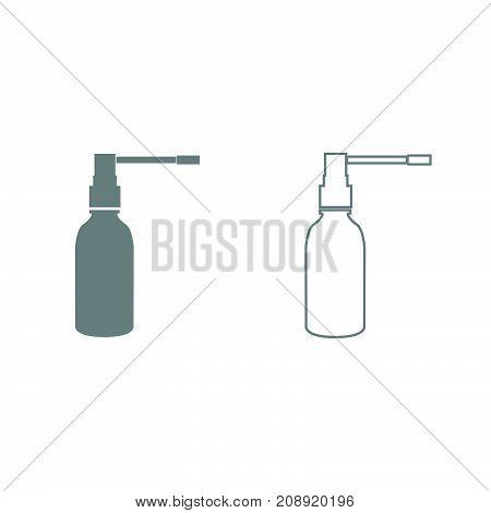 Throat Spray Grey Set Icon .