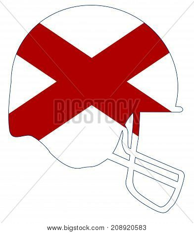 The flag of the USA state of Alabama below a football helmet silhouette