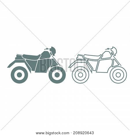 Atv Motorcycle On Four Wheels Grey Set Icon .