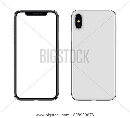 Smartphone mockup front and back side similar to iPhone X. New modern white frameless smartphone mockup with blank white screen and back side with camera. Isolated on white background.