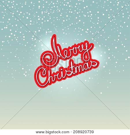 Merry Christmas Text Merry Christmas on Snowfall Background in Turquoise Shades Winter Background with the Words Merry Christmas
