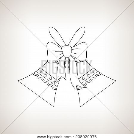 Holiday Jingle Bells with Ornament Decorated with a Bow on a Light Background Christmas Decoration Drawing in the Contours Black and White Illustration