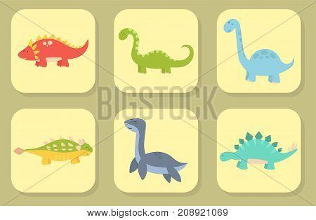 Dinosaur cartoon cards vector illustration. Cartoon dinosaurs cute monster funny animal and prehistoric character. Cartoon comic tyrannosaurus fantasy beast.