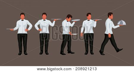 illustration of male waiter in different poses in set isolated on brown background