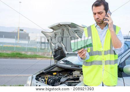 Upset Man Calling Assistance Car Mechanic Service