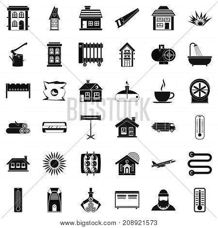 Heating icons set. Simple style of 36 heating vector icons for web isolated on white background