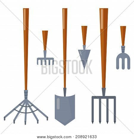 Set of agriculture farming tools on white. Spring garden equipment flat set. Vector rake for cleaning harvesting green plants cartoon tree graphic element. Taking care of nature.