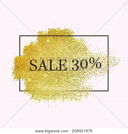Gold sales stipple frame. Vector shining background. Glitter dotted template.