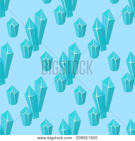 Realistic ice caps snowdrifts and icicles broken piece bit lump cold frozen block crystal winter decor vector illustration. Ice cube 3d snowy cartoon style blue frosty bar seamless pattern background.